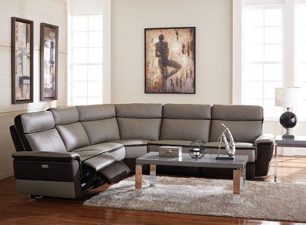 Home Elegance Laertes Taupe Gray 5pc Power Sectional HE-8318-5C1PW