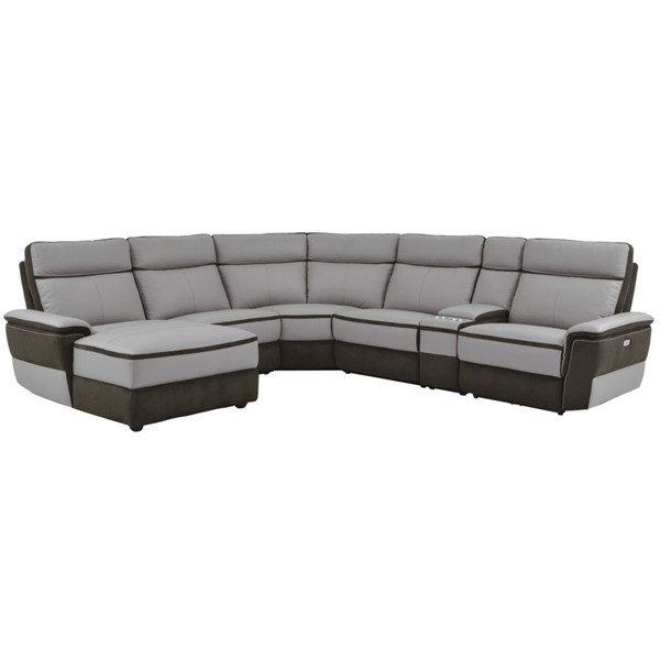 Home Elegance Laertes Taupe Gray LAF 6pc Power Sectional HE-8318-6A1PW