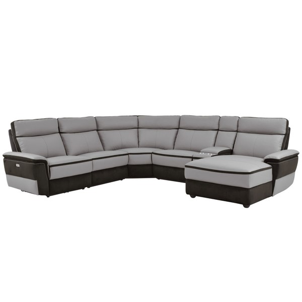 Home Elegance Laertes Taupe Gray RAF 6pc Power Sectional HE-8318-6B1PW