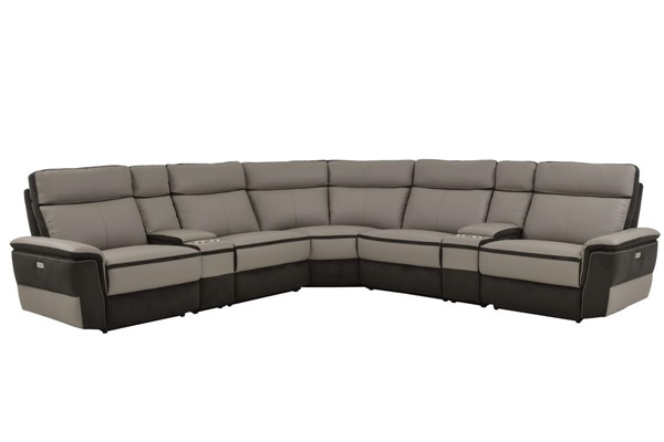 Home Elegance Laertes Taupe Gray 7pc Power Sectional HE-8318-7C1PW
