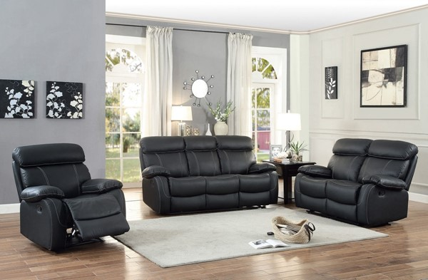Pendu transitional black grain leather reclining living for Living room set deals