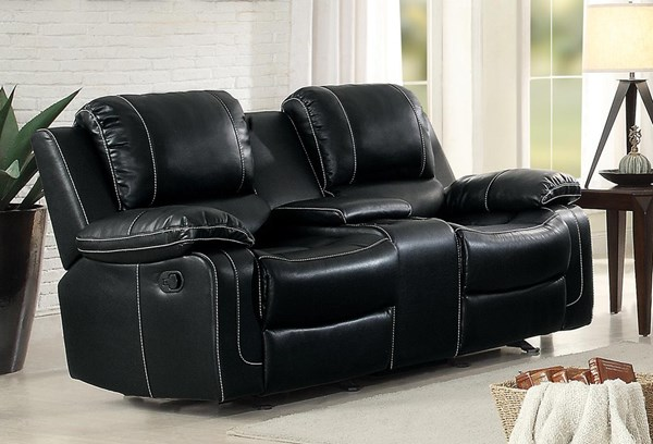 Home Elegance Oriole Black Double Glider Reclining Loveseat with Center Console HE-8334BLK-2