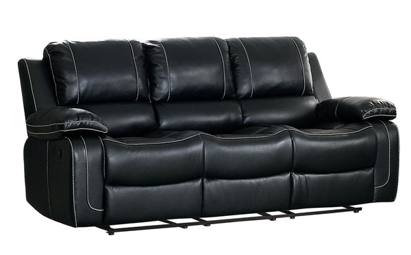 Home Elegance Oriole Black Double Reclining Sofa with Cup Holders HE-8334BLK-3