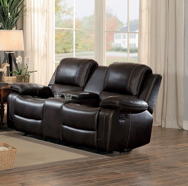 Home Elegance Oriole Brown Double Glider Recliner Console Loveseat HE-8334DBR-2
