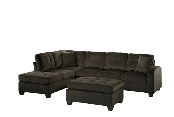 Home Elegance Emilio Chocolate 3pc Sectional with Ottoman HE-8367CH-3-SEC
