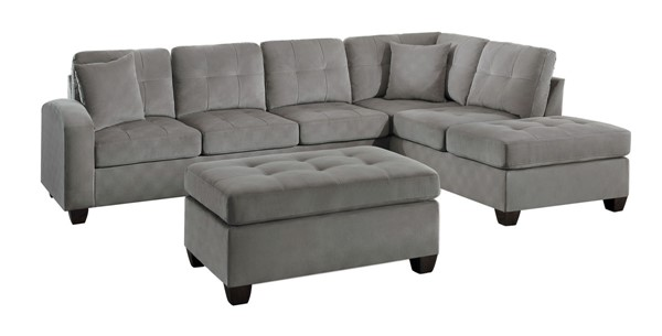 Home Elegance Emilio Taupe 3pc Sectional with Ottoman HE-8367TP-3-SEC