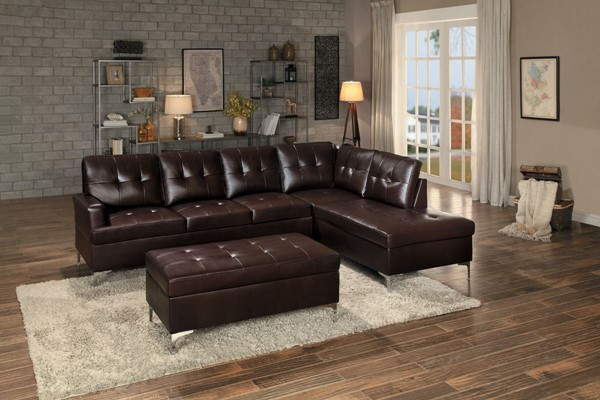 Home Elegance Barrington Brown 3pc Sectional with Ottoman HE-8378BRW-3SET