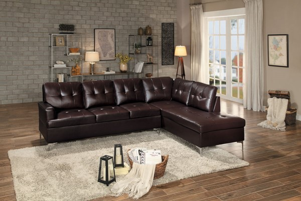 Home Elegance Barrington Brown 2pc Sectional HE-8378BRW