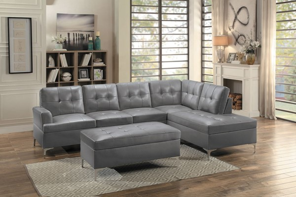 Home Elegance Barrington Gray 3pc Sectional with Ottoman HE-8378GRY-3SET