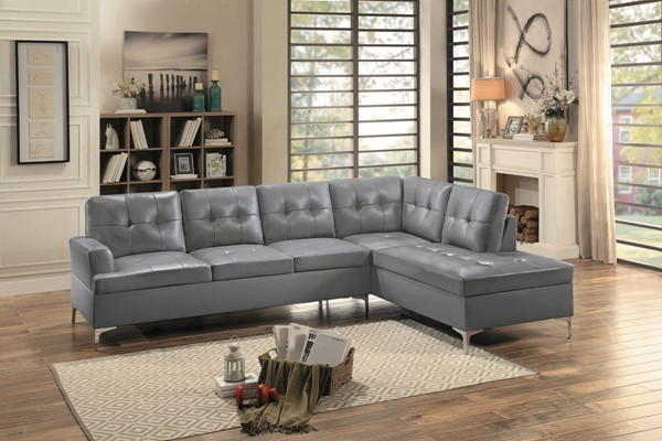 Home Elegance Barrington Gray 2pc Sectional HE-8378GRY