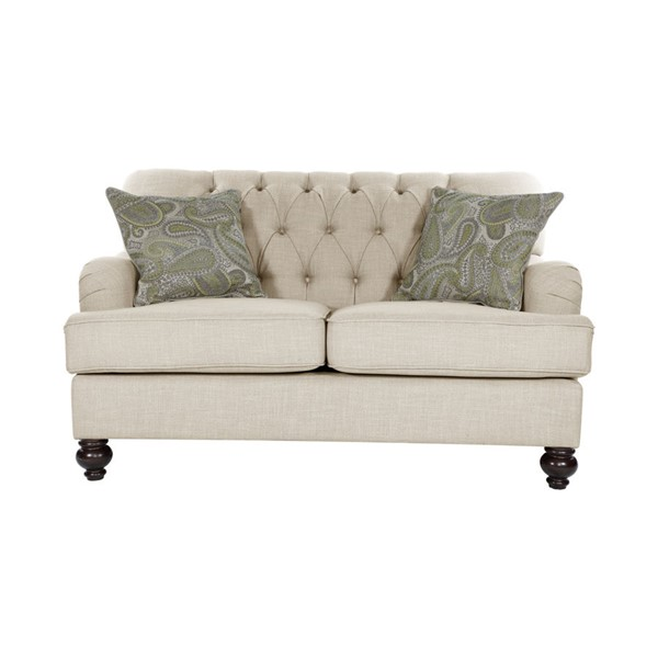 Home Elegance Clemencia Natural Loveseat with Two Pillows HE-8380-2