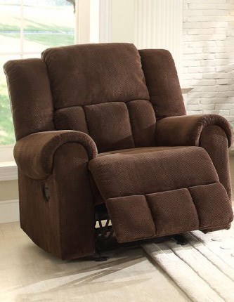 Bunker Chocolate Fabric Glider Reclining Chair HE-8400CH-1