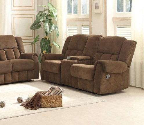 Bunker Fabric Double Glider Reclining Loveseat w/Center Console HE-8400CH-2