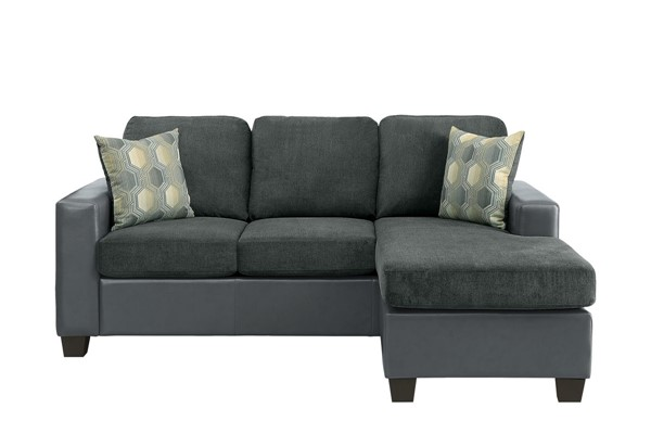 Home Elegance Slater Gray Reversible Sofa Chaise with Two Pillows HE-8401GY-3SC