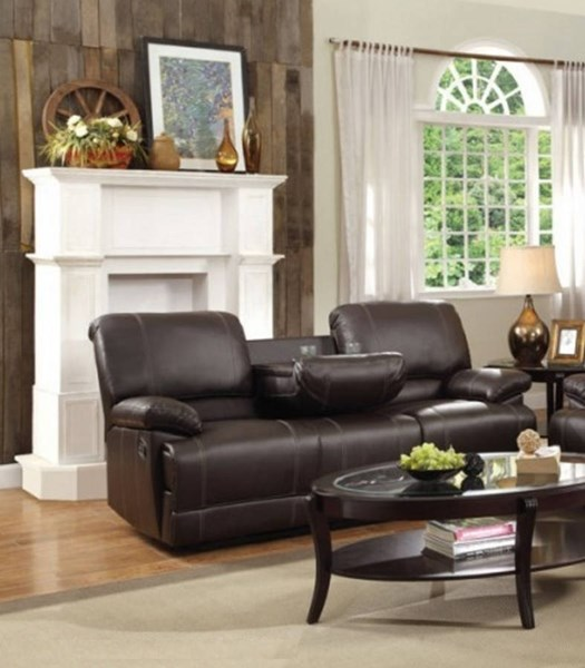 Cassville Brown Double Reclining Sofa w/Center Drop-Down Cup Holders HE-8403-3