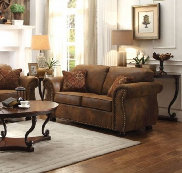 Corvallis Traditional Brown Microfiber Loveseat HE-8405BJ-2
