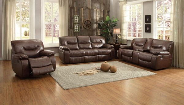 Leetown Casual Dark Brown Bonded Leather 3pc Living Room Set HE-8406-LR-S1