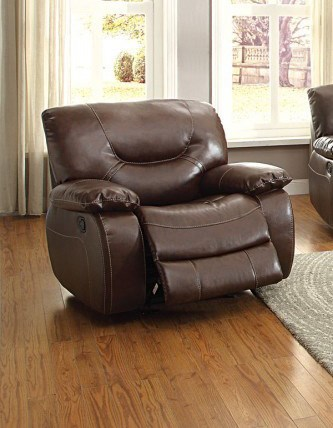 Leetown Casual Dark Brown Bonded Leather Glider Reclining Chair HE-8406-1