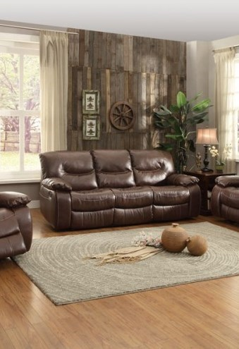 Leetown Casual Dark Brown Bonded Leather Double Reclining Sofa HE-8406-3