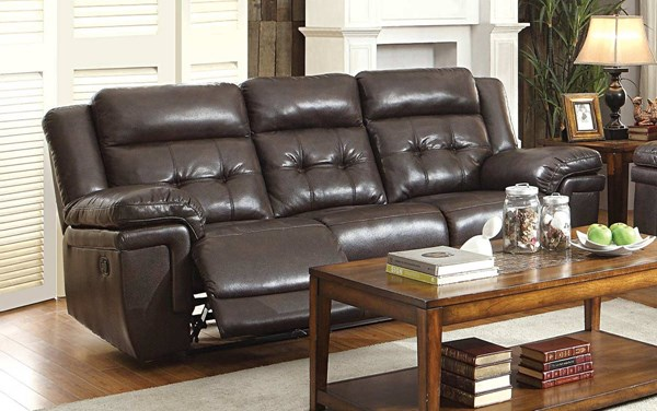 Anniston Dark Brown Faux Leather Double Reclining Sofa HE-8407-3