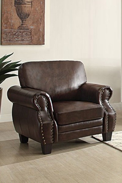 Bertrand Traditional Dark Brown Bonded Leather Chair HE-8408-1
