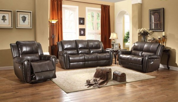 Bosworth Traditional Dark Brown Leather Living Room Set HE-8409-LR