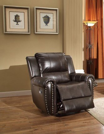 Bosworth Traditional Dark Brown Leather Glider Reclining Chair HE-8409-1