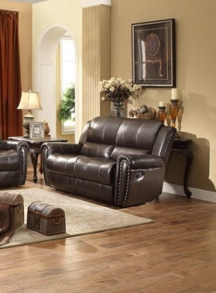 Bosworth Traditional Dark Brown Leather Double Reclining Loveseat HE-8409-2