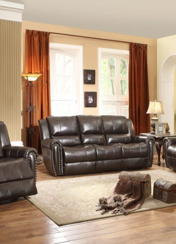 Bosworth Traditional Dark Brown Leather Double Reclining Sofa HE-8409-3