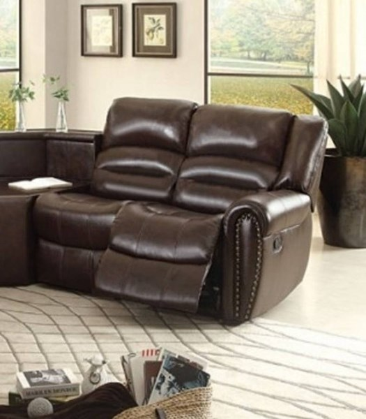 Palmyra Dark Brown Bonded Leather Right Side Reclining Loveseat HE-8411-2R