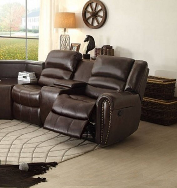 Palmyra Bonded Leather Right Side Reclining Loveseat w/Center Console HE-8411-2RCN