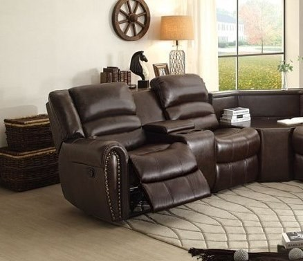 Palmyra Dark Brown Left Side Reclining Loveseat w/Center Console HE-8411-2LCN