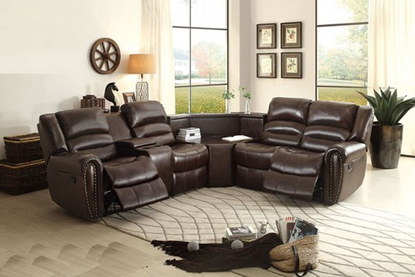 Palmyra Dark Brown Bonded Leather Sectional HE-8411-LR-SEC