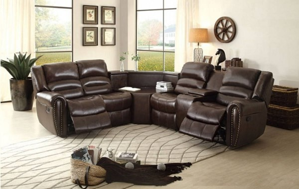 Palmyra Dark Brown Bonded Leather Reclining Sectional HE-8411-SEC1
