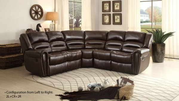 Home Elegance Palmyra Dark Brown Sectional HE-8411-SEC2