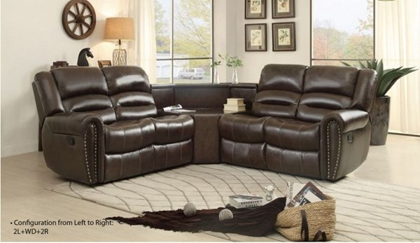 Palmyra Dark Brown Bonded Leather Cushion Sectional HE-8411-SEC3