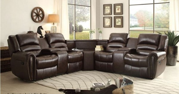 Palmyra Dark Brown Bonded Leather Round Sectional HE-8411-SEC4