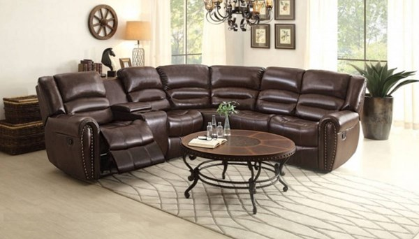 Palmyra Dark Brown Bonded Leather Bustle Back Sectional HE-8411-SEC5