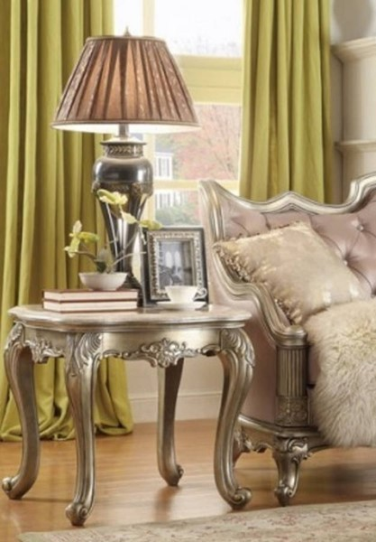 Fiorella Old World Silver Gold Wood Marble Top End Table HE-8412-04