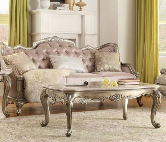 Fiorella Old World Silver Gold Wood Marble Top Cocktail Table HE-8412-30