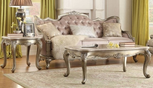 Fiorella Old World Silver Gold Wood 3pc Coffee Table Set HE-8412-OCT-S1