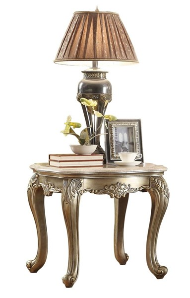Home Elegance Fiorella End Table with Marble Top HE-8412-04