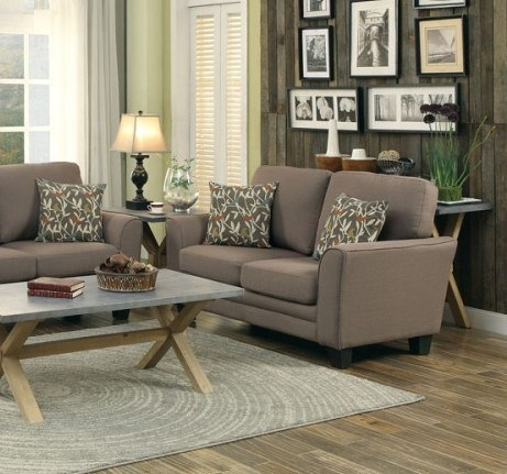 Adair Classic Grey Fabric Wood Curve Loveseat HE-8413GY-2