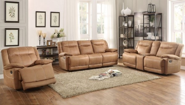 Wasola Brown Polyester Triple Reclining Living Room Set HE-8414-LR