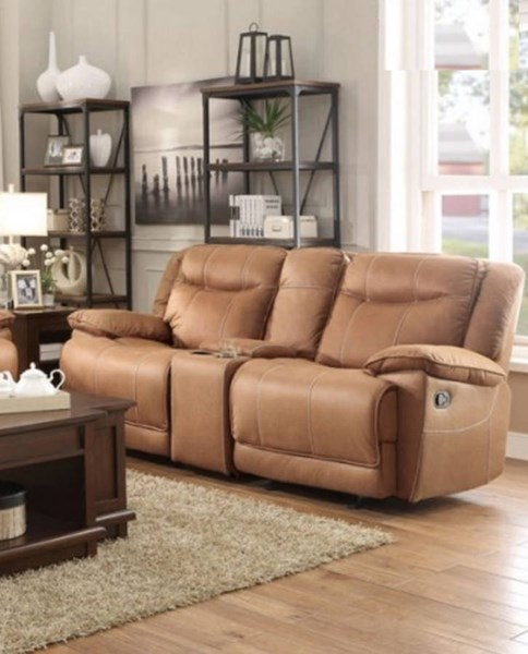 Wasola Polyester Double Glider Reclining Loveseat w/Center Console HE-8414-2