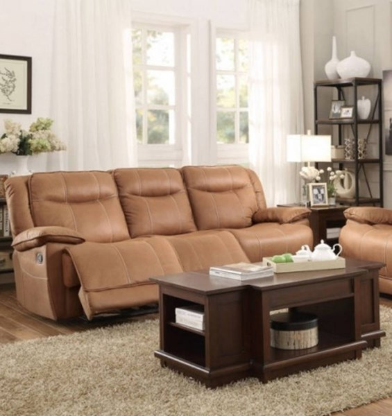 Wasola Brown Polyester Triple Reclining Sofa HE-8414-3