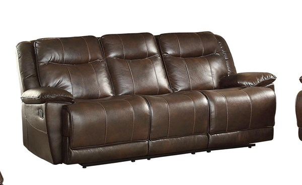 Home Elegance Wasola Dark Brown Triple Reclining Sofa HE-8414DBR-3