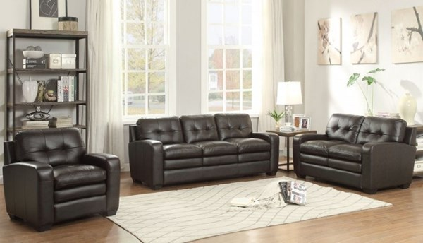 Urich Retro Chocolate Leather Living Room Set HE-8422-LR