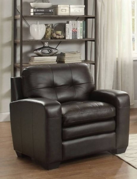 Urich Retro Chocolate Leather Tufted Back Chair HE-8422-1