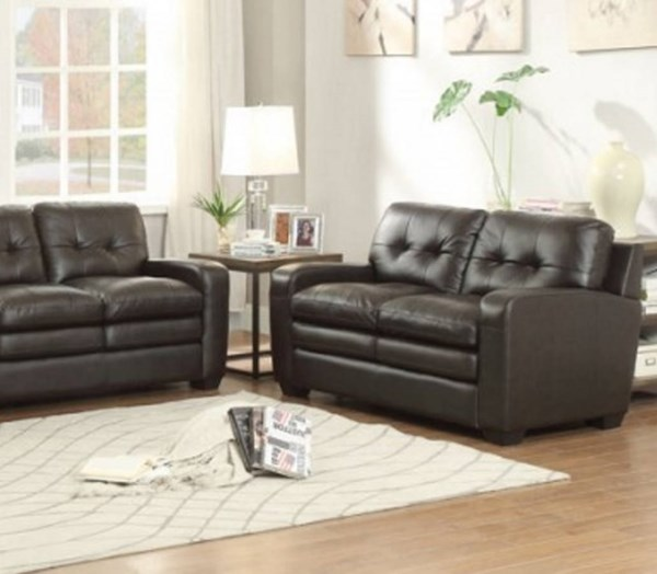 Urich Retro Chocolate Leather Tufted Back Loveseat HE-8422-2
